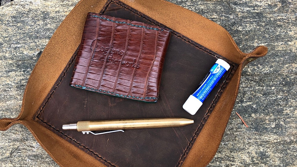 Lined Leather Valet Tray - in stock