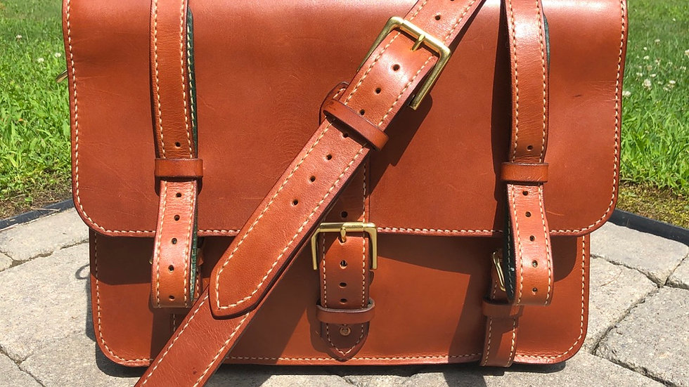 Tan  Bridle Briefcase with green lining