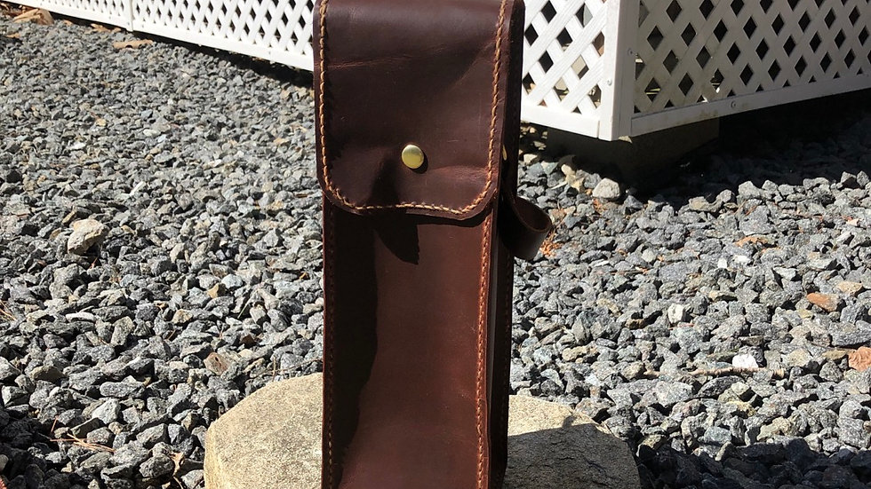Leather wine carrier - made to order