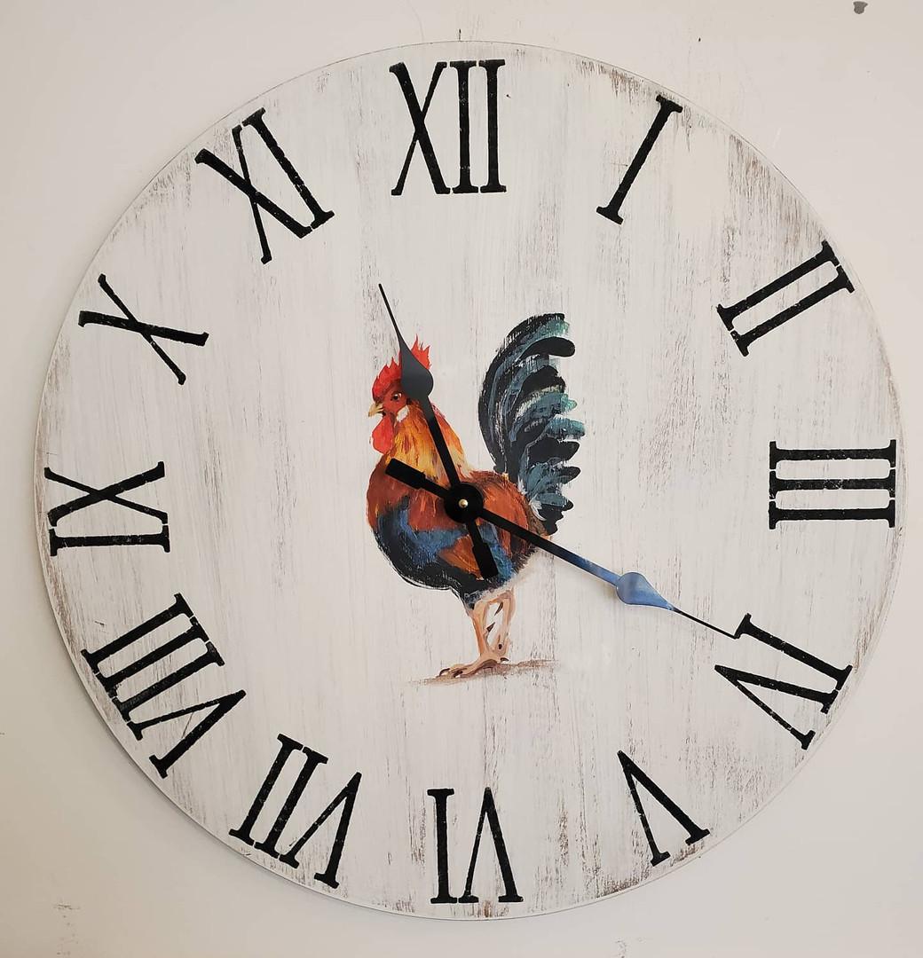 "24"" Pallet Clock, Rooster"