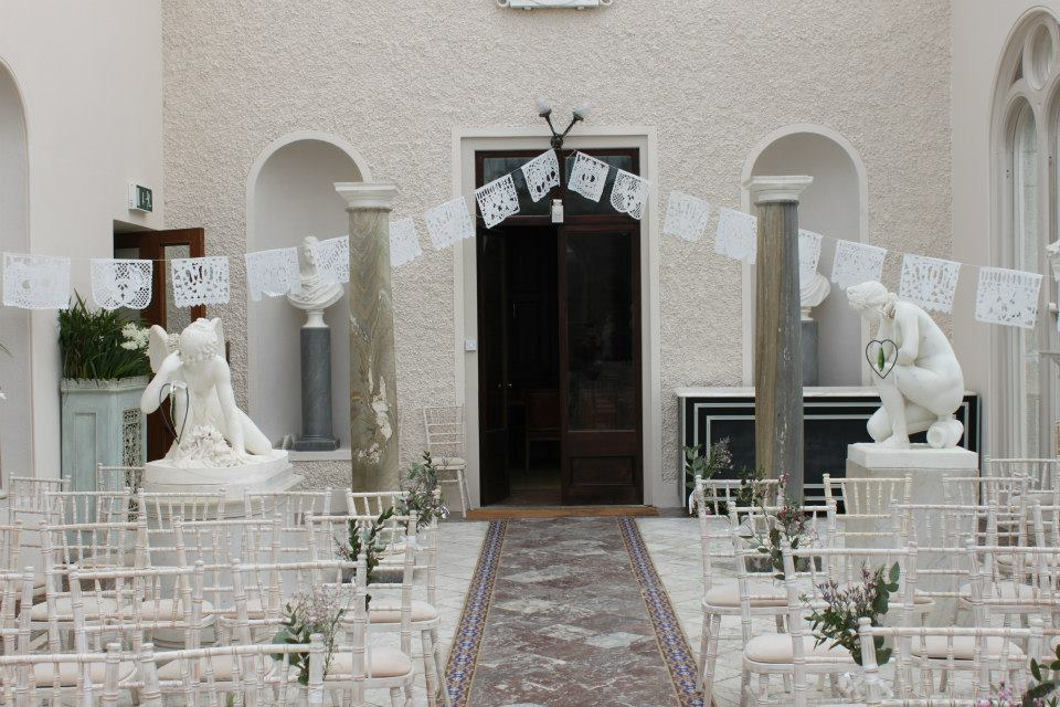 White wedding bunting