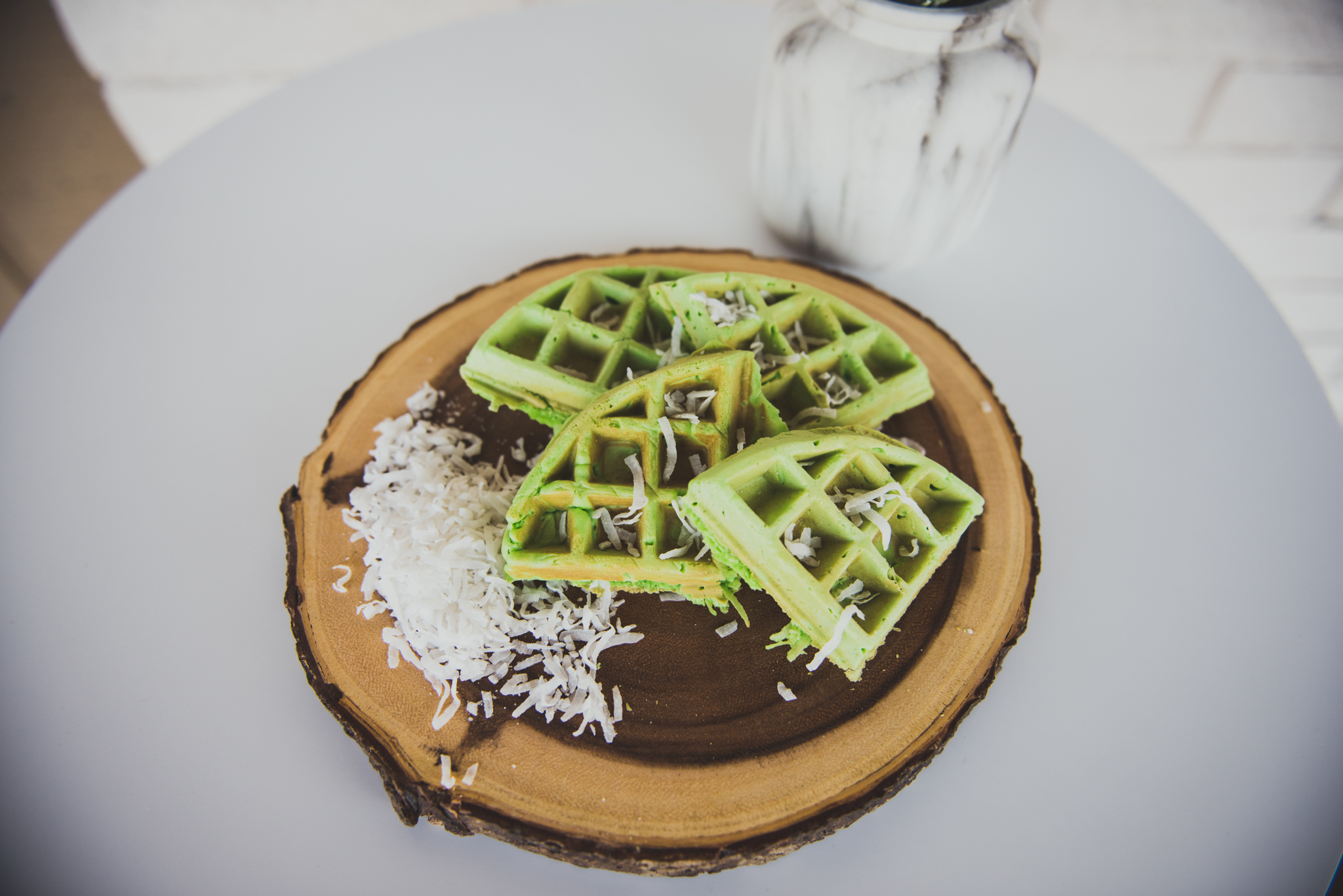 Coconut Green Waffles
