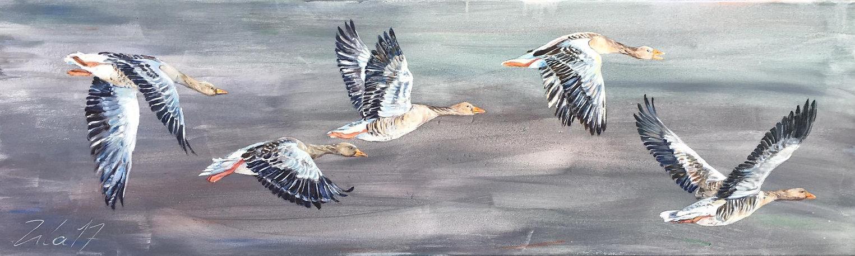 Gruppe fliegender Gänse