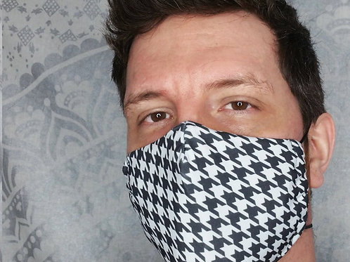 Houndstooth Print Reusable & Breathable Face Mask Covering