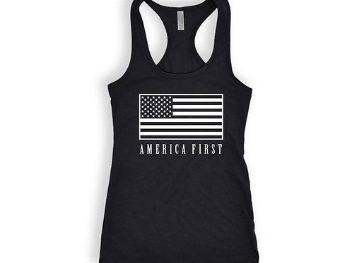 AMERICA First Tank Top with American Flag Print Mens and Ladies Sizes Available
