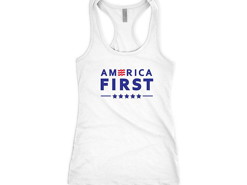 AMERICA FIRST Mens and Ladies Sizes - MAGA Trump Tank Top for Republican