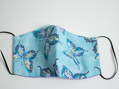 Teal Butterfly - 100% Cotton Face Mask - Elastic Ear Loops - Dual layer