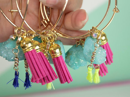 Druzy Charm Bracelet Bangle with Charms and double Tassels One of a kind Jewelry