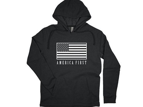 AMERICA FIRST Hoodie with American Flag Print Unisex Size  for Republicans