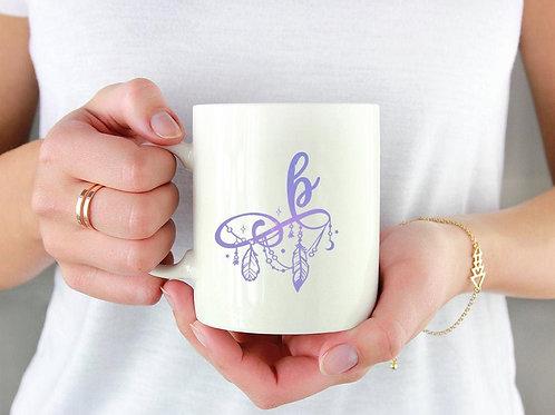 Boho Monogram Charm Ceramic Mug 15 oz.
