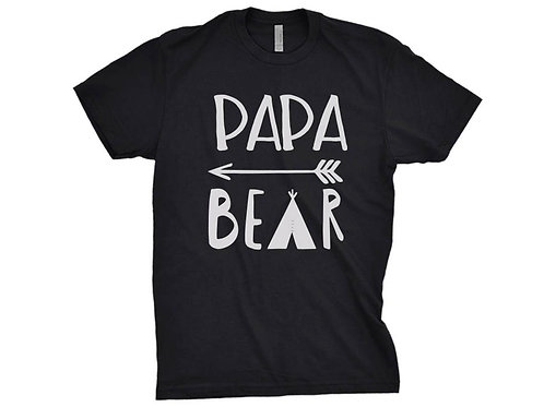 PAPA BEAR Shirt Premium Black Tee Mens Size Expecting Father Gift