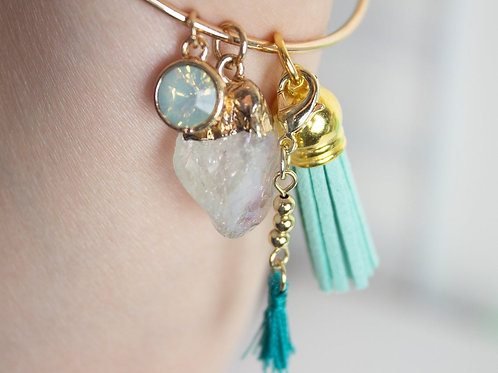 Crystal Seascapes Charm Bracelet Bangle with Charms and double Tassels