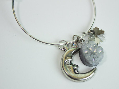Druzy Crescent Moon Charm Bracelet Bangle with Charms One of a kind Jewelry