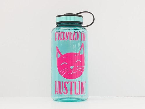 Everyday I'm Hustlin' - Cat Bottle - Water Intake Bottle - Hourly Tracker