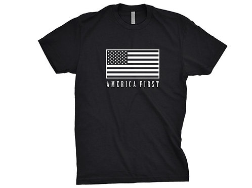 AMERICA First Tshirt with American Flag Print Mens and Ladies Sizes Available