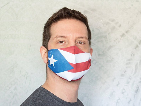 Puerto Rico Flag Print Reusable & Breathable Face Mask Covering