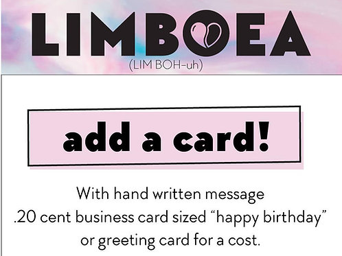 Add a card to your order for when purchasing a gift