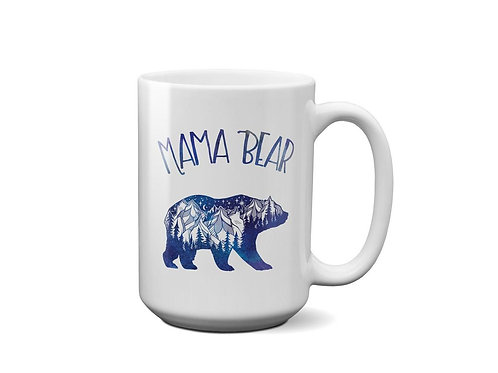 Mama Bear Mug - Galaxy sky - Mountains - Gift for Mom - Mug for tea - 15 oz