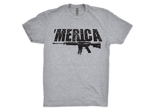 Merica Shirt AR15 Graphic Print Tee Screen Printed T-Shirt for Men
