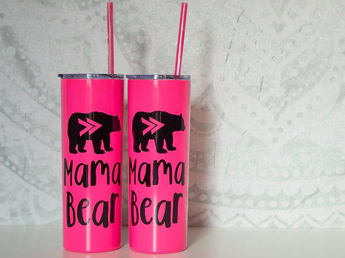 MAMA BEAR Tumbler- Baby Shower Gift -Stainless Steel Slim Metal Tumbler with Lid