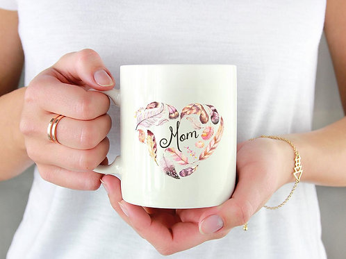 Mom Mug - Feathers - Heart - Boho - Custom Wording Available - Best Friend Gift