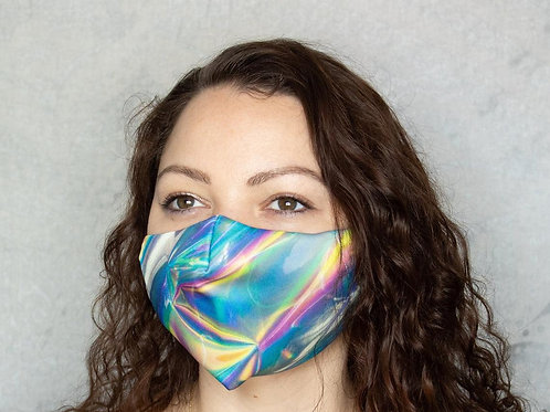 Faux Holo Foil Print - Polyester & Cotton Face Mask - Elastic Ear Loops
