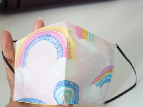 Rainbow Mask - Colorful Face Cover - Small Sized Mask For Kids - Dual layer
