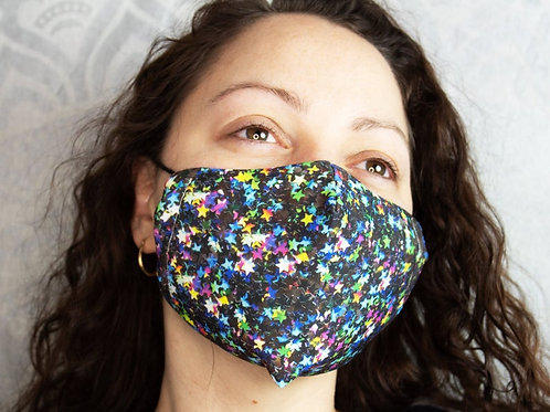 Glitter Stars Print Reusable & Breathable Face Mask Covering