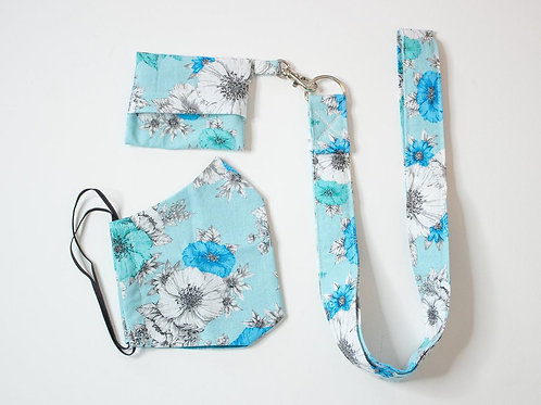 Aquaflower Face Mask-Face Mask For Her - Mask Lanyard and Storage Pouch Keychain
