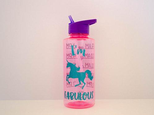 Unicorn Water Bottle - I'm Fabulous - Large Drink Bottle - Water Intake Bottle