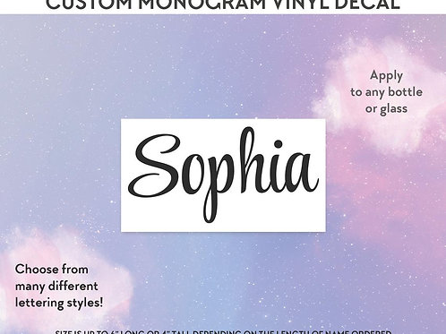 Custom Name Vinyl Decal - Bottle Decals - Drink Bottle Chart - Name Decals - DIY