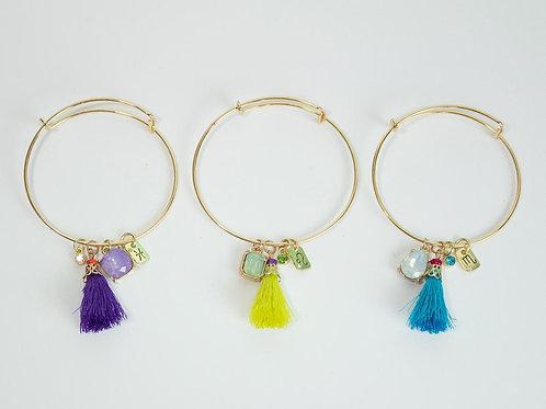 Zodiac Charm Bracelet Bangle with Charms and Tassel One of a kind Jewelry Design