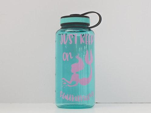 Mermaid Bottle - Just Keep On Swimming - Water Intake Bottle - Hourly Tracker