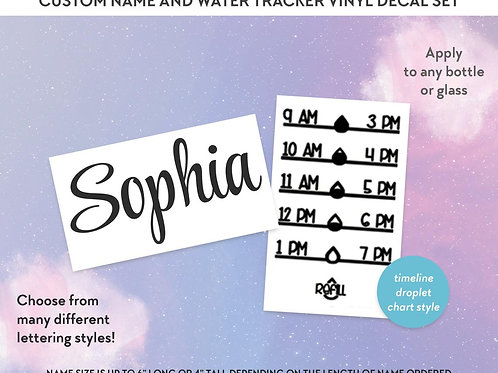 Custom Name and Water Tracker - Water Intake Chart -Decal Set-Bottle Decals- DIY