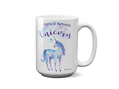 Unicorn Coffee Mug - Socially Awkward Unicorn - Gift for Best Friend - 15 oz