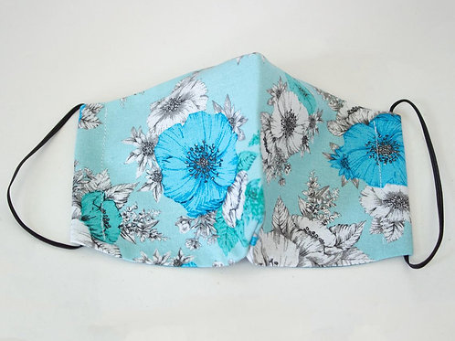 Unique Face Mask - Aqua Flower - 100% Cotton Face Mask - Elastic Ear Loops