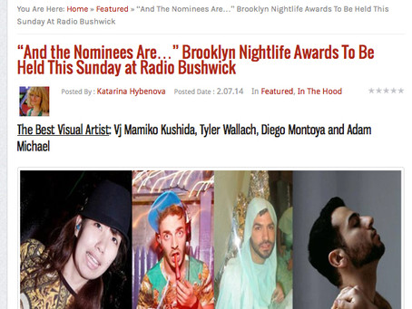 Nominated!  Best Visual Artist at Brooklyn Nightlife Awards