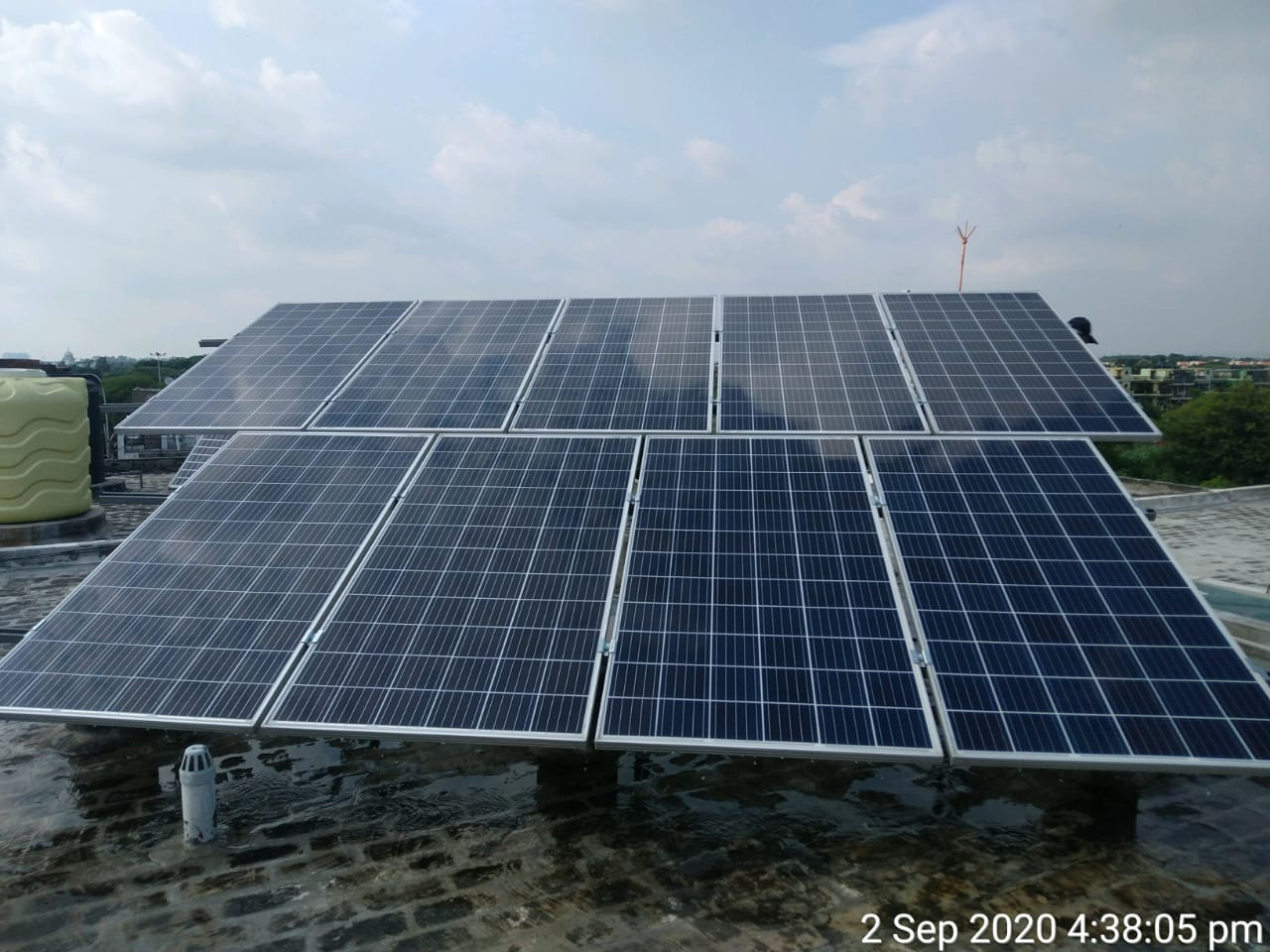 Cleaned solar panels