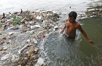Person inside polluted river