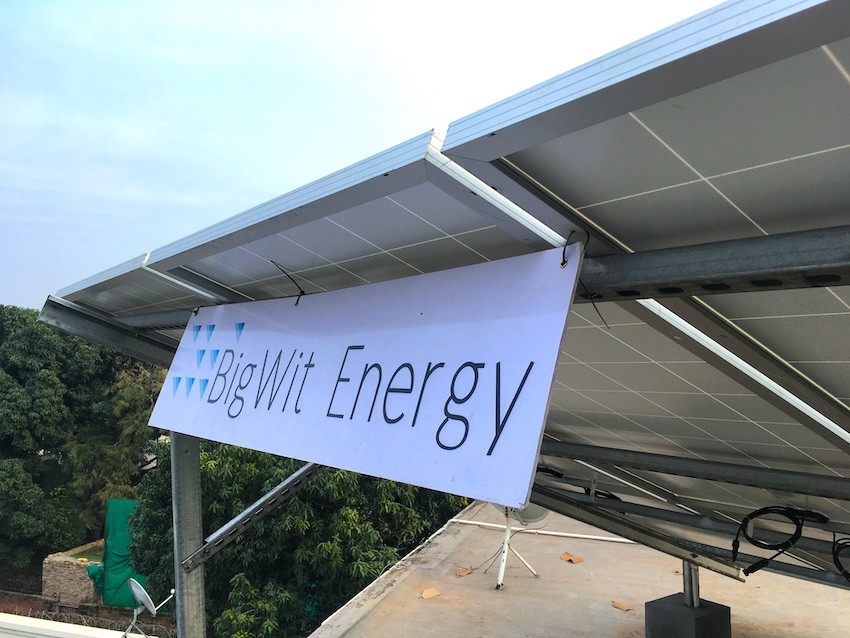Board on solar panels installed with BigWit Energy written on it