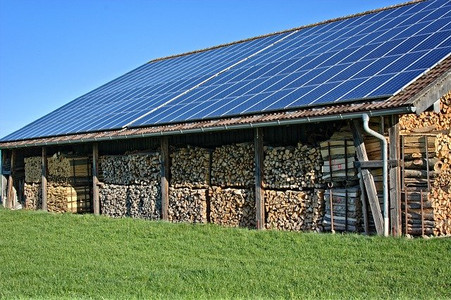 Solar panels on remote location wood house