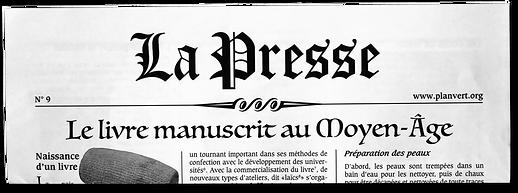 """Le petit journal """"La Presse"""" une édition spéciale de l'Atelier Typo sur le """"livre manuscrit au Moyen Age"""""""