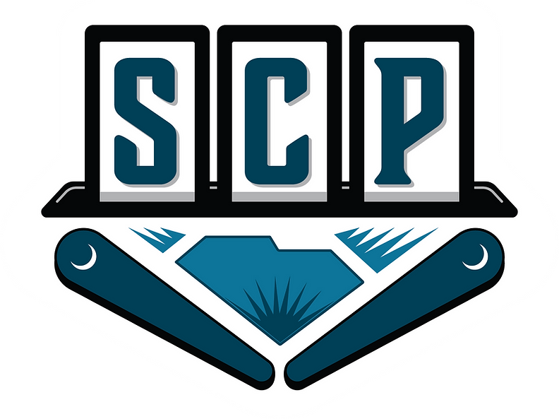South Carolina Pinball logo (SCP drop targets above SC outline and crescent moon flippers)