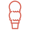 Twice A Week Scooping Logo - Red & White Double Ice Cream Cone