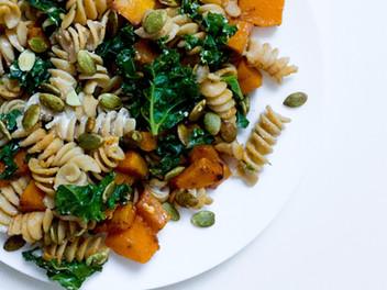 honey goat cheese & autumn spiced butternut squash pasta
