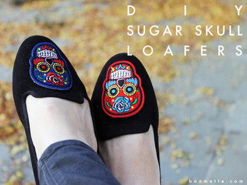 diy sugar skull loafers