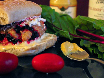 chicken rosemary beet burgers with boursin cheese