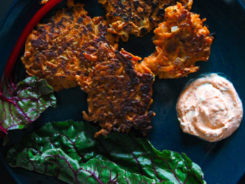 carrot fritters with harissa dip