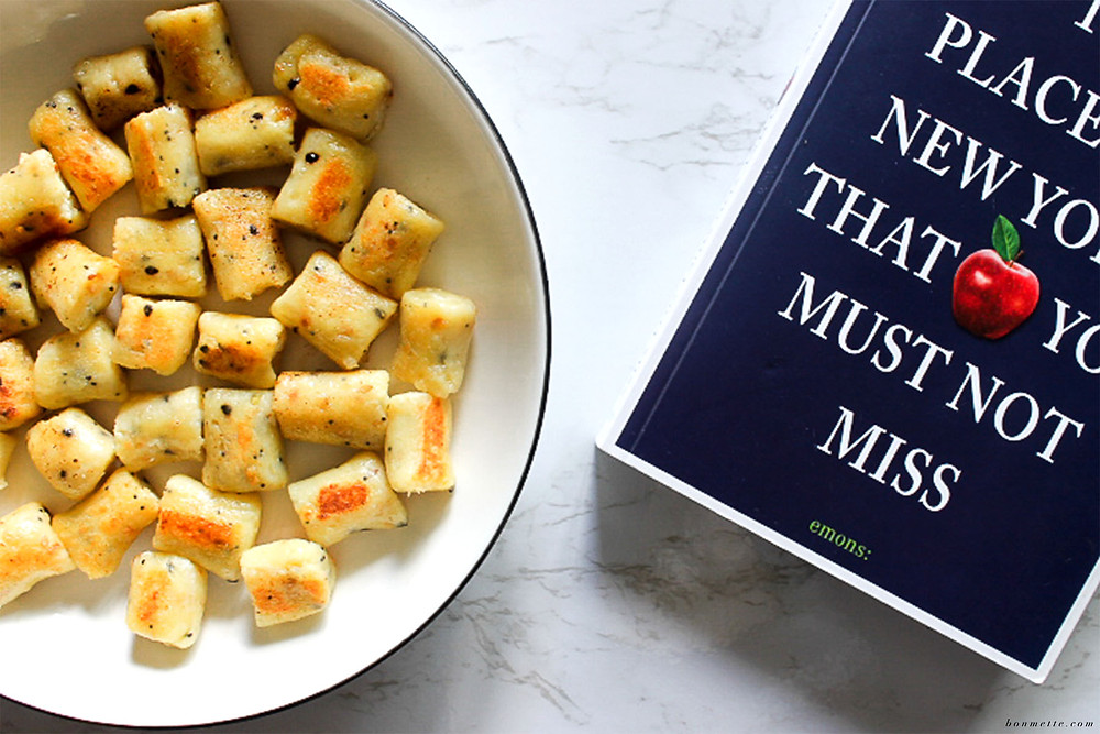 A plate of gnocchi inspired by New York classic everything bagels