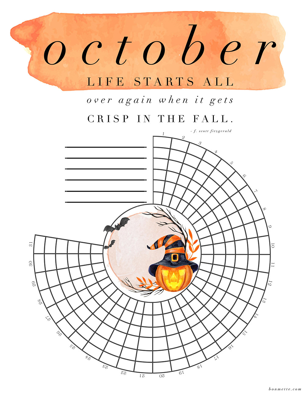 An October circle free download habit tracker with Halloween decoration including pumpkins and bats and a quote about fall.